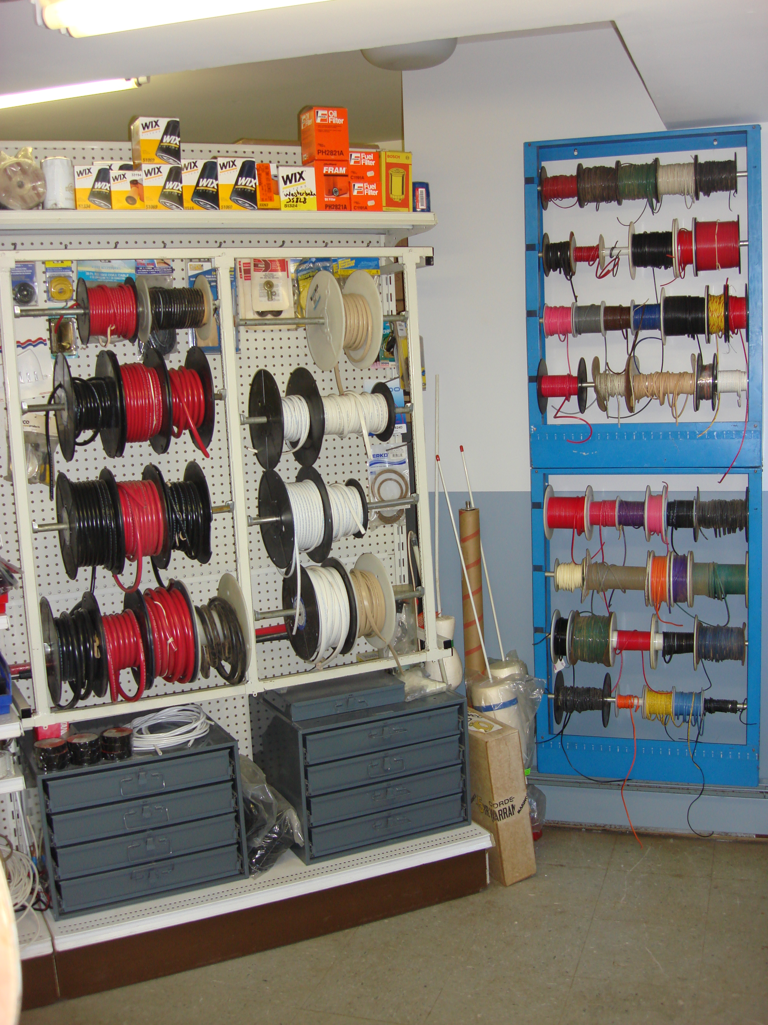 Spools of wire/cable.